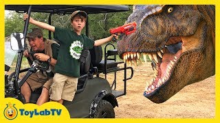 Giant T-Rex Chase at Dinosaur Park in Fun Jurassic Adventure with Life Size Dinosaurs & Nerf Toys