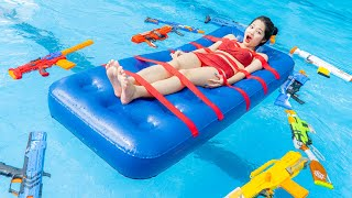 Rescue Girl ESCAPE UNDERWATER PRANK at Pool - Go Swimming Nerf Guns Fight Criminal | Action Nerf