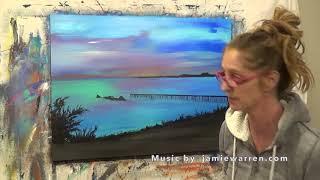 """Abstract Art Painting Demo - Original by Shari Kreller """"Beach Walk"""""""