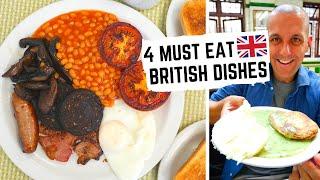 BRITISH FOOD | 4 British Foods You MUST EAT in LONDON, ENGLAND | Pie, Mash + Liquor, Fry Up...