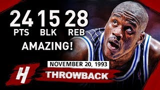 Shaquille O'Neal AMAZING Triple-Double Highlights vs Nets (1993.11.20) - 24 Pts, 28 Rebs, 15 BLOCKS!