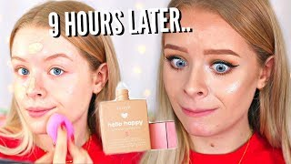 TESTING NEW BENEFIT HELLO HAPPY FOUNDATION..+ 9 HOUR WEAR TEST | sophdoesnails