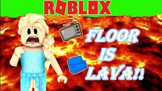 👑❄ELSA PLAYS THE FLOOR IS LAVA WITHOUT HER POWERS!!!-Roblox Roleplay