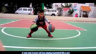 CUTE 3 years old boy dancing and playing basketball like a PRO