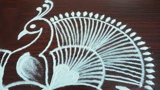 Peacock rangoli design with 6 dots | simple kolam designs for beginners | creative muggulu