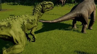 Jurassic World Evolution - Dreadnoughtus vs Indominus Rex Camouflage (1080p 60FPS)