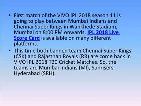 Indian Premier League 2018 Season 11 Time Table and Cricket Matches Details