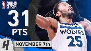 Derrick Rose Full Highlights Wolves vs Lakers 2018.11.07 - 31 Points, 7 Threes!