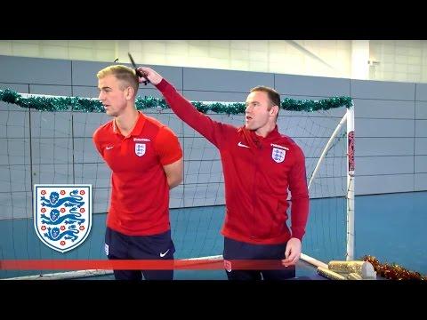 Sneaky Wayne Rooney cuts Joe Hart's hair? - Funny Christmas Outtakes