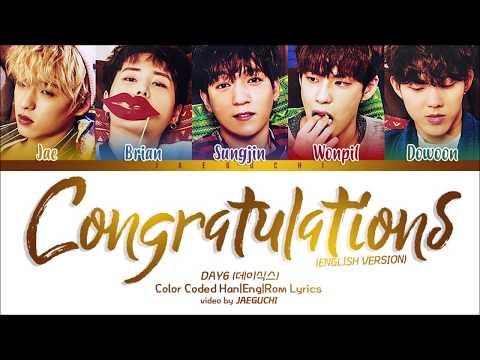 DAY6 (데이식스) - Congratulations (English ver.) Color Coded Lyrics
