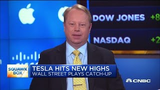 Wall Street plays catch up as Tesla hits new highs
