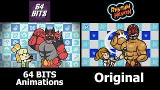 64 Bits Super Smash Heaven Side-By-Side Comparison w/ Original Rhythm Heaven Remix 10