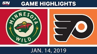 NHL Highlights | Wild vs. Flyers - Jan. 14, 2019