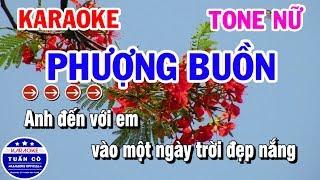 Karaoke Phượng Buồn | Nhạc Sống Tone Nữ Dễ Hát | Karaoke Tuấn Cò