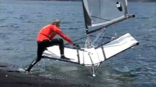 Launching a moth sailboat