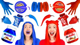 EATING ONLY ONE COLOR FOOD FOR 24 HOURS || Red VS Blue Food Challenge! Mukbang by 123 GO! FOOD