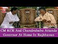 KCR, Chandrababu seen chatting up at Governor's feast