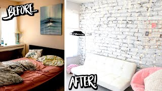 DREAM BEDROOM MAKEOVER ☆ DIY White Brick + Rose Gold