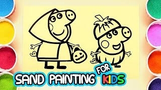 Peppa pig Sand Painting for Kids - Halloween Party! | Coloring Page with Colored Sands and Glitters