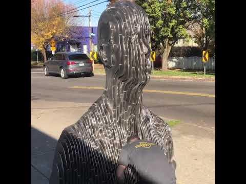 Transparent Man (Der Durchsichtige Mensch) during fabrication in Portland, Oregon workshop