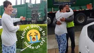 Special Needs Boy Excited To See Favorite Garbage Man