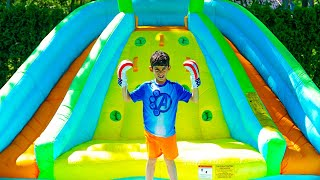 Jason wins boxing match and inflatable slide