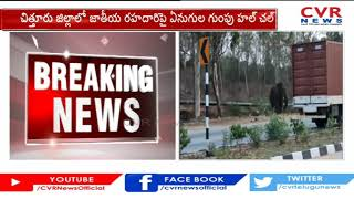 Elephants create chaos on national highway in Chittoor..