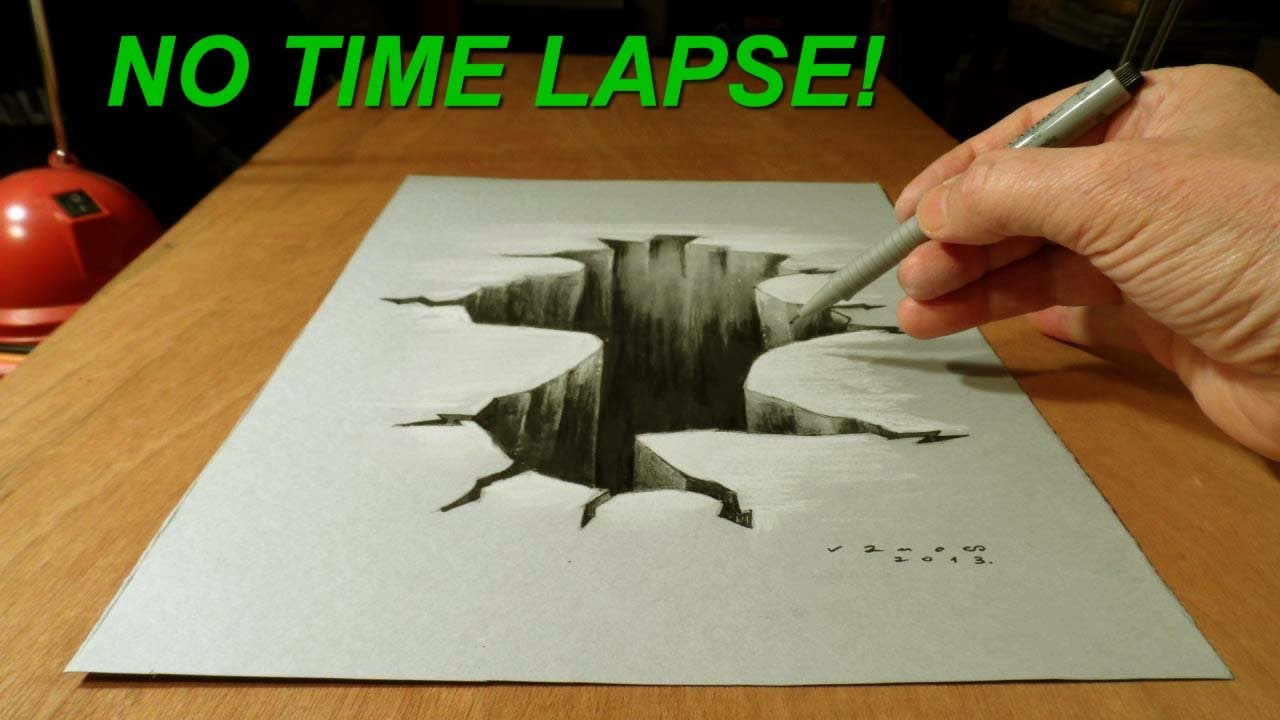 No time lapse trick art on paper drawing 3d hole youtube for Disegni 3d facili per bambini