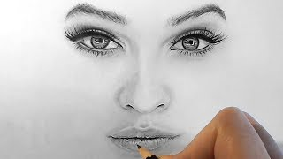 How to draw, shade realistic eyes, nose and lips with graphite pencils | Step by Step