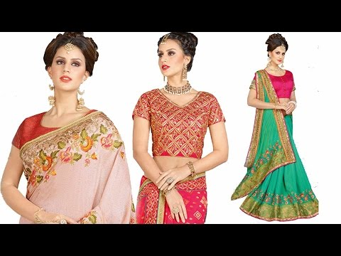 Designer sarees: latest designer Party Wear saree blouse fancy Patterns online shopping @ low price