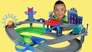 PJ MASKS Toys Unboxing Nightime Adventures Rev N Rumblers Track Playset With Ckn