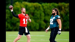 Carson Wentz works with Philadelphia Eagles wide receivers