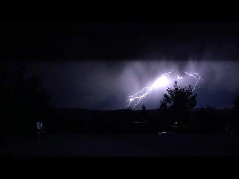 Lightning fills the night sky in Ennis, Montana