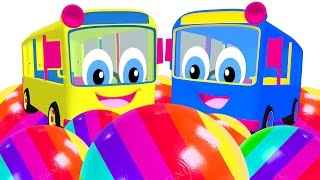 Kids Learn Colors with Surprise Eggs & Bus Toys   Wheel on the Bus Song   Teach Colours ABCs Shapes