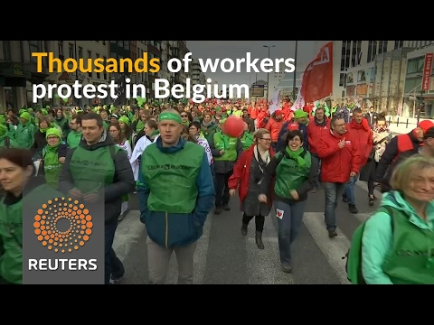 Thousands of Belgian workers take to the streets in protest