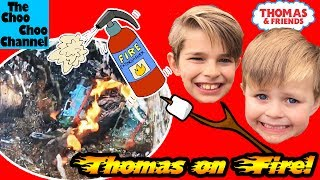 FIGHTING KIDS catch THOMAS TOY TRAIN on FIRE!  Thomas and Friends Accidents Will Happen, Kids Toys