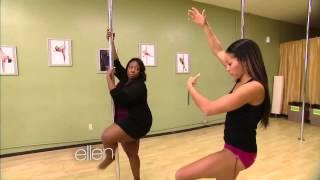 Loni Love Learns to Pole Dance w/ Nicole Williams at Allure Dance Studio (Ellen Show)