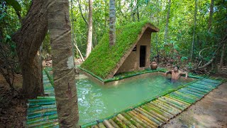 Build The Most Beautiful Bamboo Swimming Pool Around Luxury Villa house by ancient skills