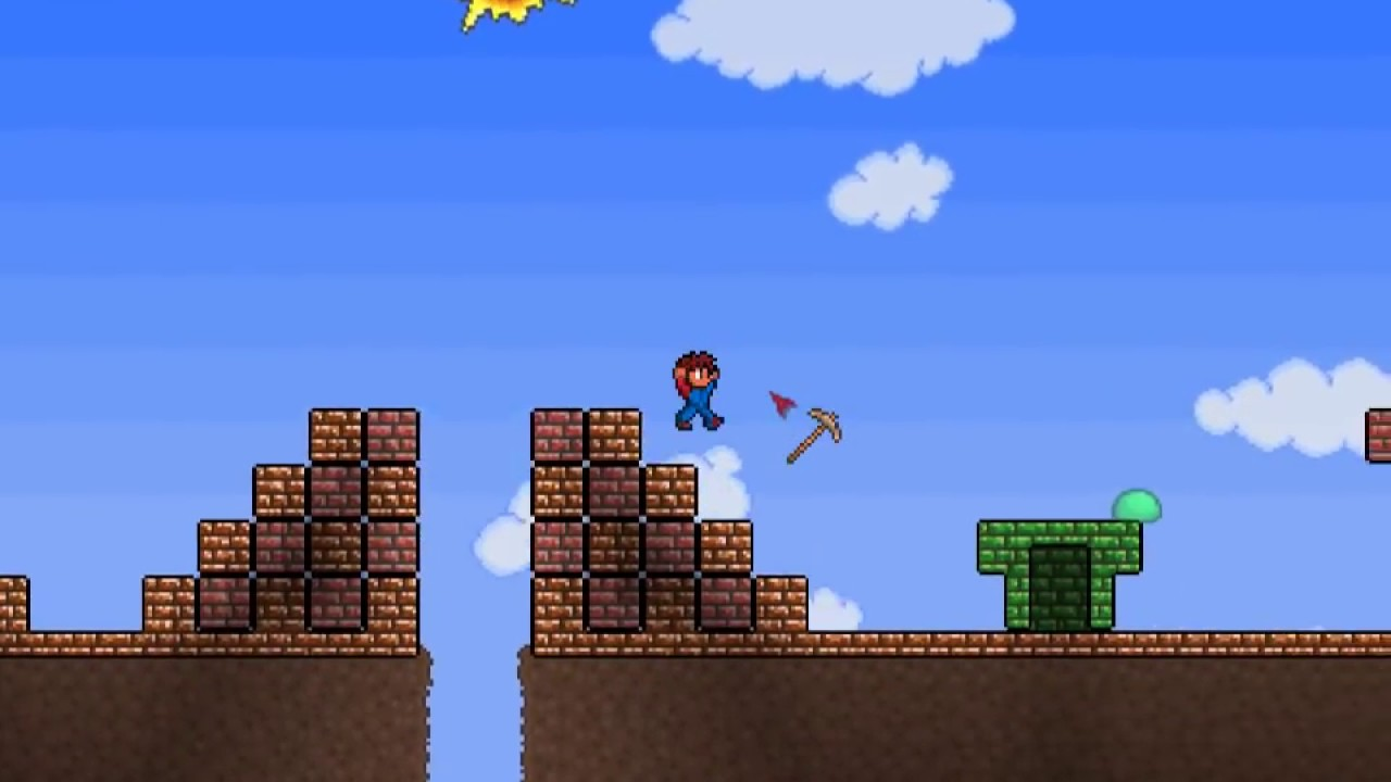 Terraria Creation Super Mario Bros Level 1 1 Youtube