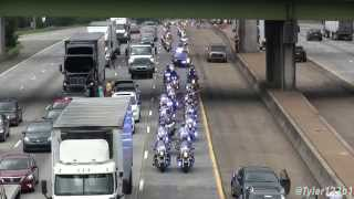 """(HD) Lance Cpl. Squire """"Skip"""" Wells  procession on Interstate 75 from airport"""
