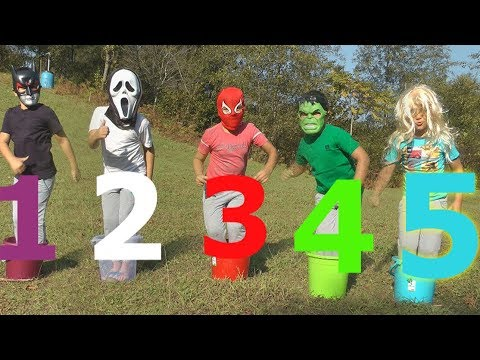 Learn Bucket Colors with Five Little Babies Jumping On The Bed Educational Videos Good Song for kids