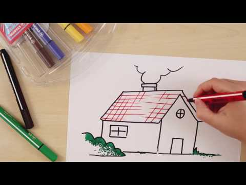 How to draw a house (STABILO Tutorials, intermediate)