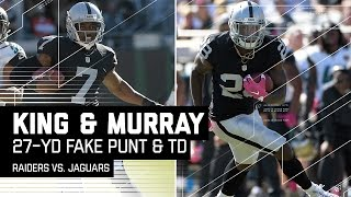 Punter Marquette King Converts Fake Punt on 4th & 24 to Set Up Murray TD!   Raiders vs. Jags   NFL