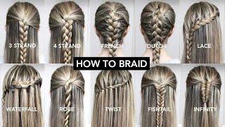 10 Basic Braids For Beginners | Easy DIY Tutorial
