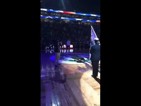 Stanaj singing the national anthem at the Celtics game