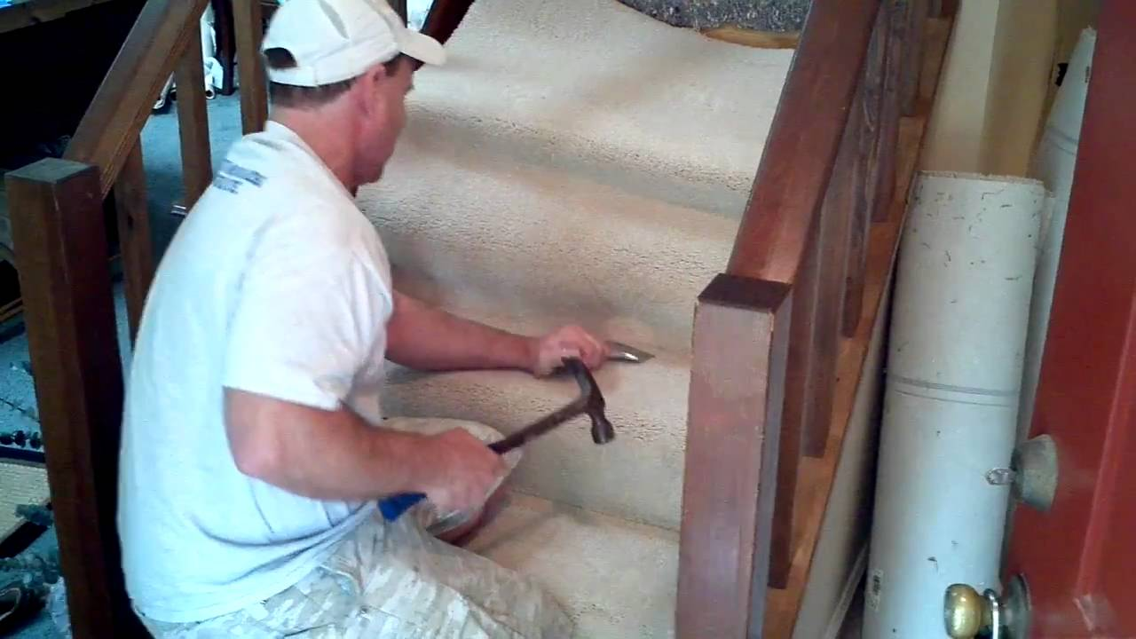 How To Install Carpet On Stairs Youtube