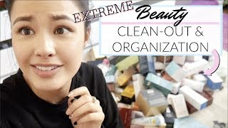 EXTREME BEAUTY ORGANIZATION + CLEAN-OUT | Massive Declutter and Storage Tips!