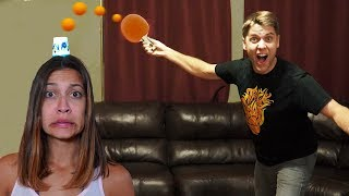 PING PONG TRICK SHOT BATTLE!!