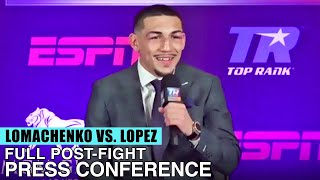 TEOFIMO LOPEZ FULL POST FIGHT PRESS CONFERENCE VS VASYL LOMACHENKO (LOMACHENKO VS LOPEZ )