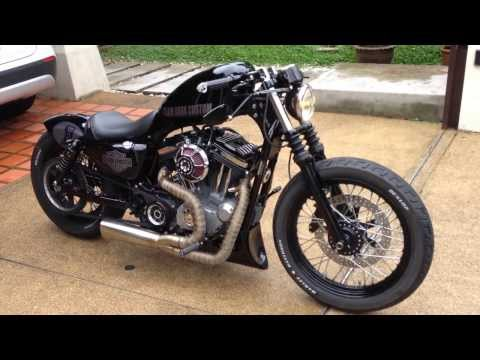 patriot defender exhaust on 2012 harley sportster xl883n. Black Bedroom Furniture Sets. Home Design Ideas